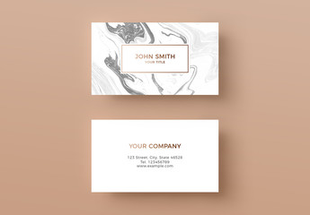 Business Card Layout with Marble Background
