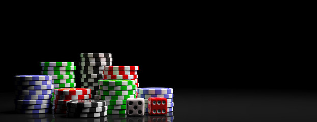 Poker chips piles and dice on black background, banner, copy space. 3d illustration Wall mural