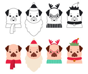 Christmas dogs in the costumes of Santa Claus, reindeer and elf. Vector cartoon set of cute puppies isolated on white background.