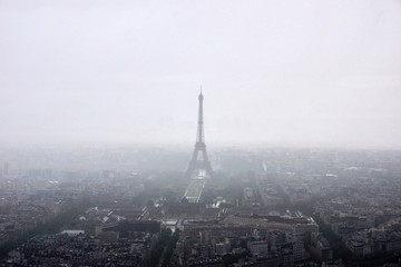 Panoramic view of Paris with eiffel tower in fog