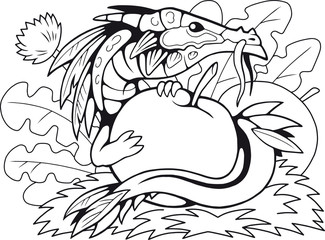 cartoon little apple dragon, coloring book, funny illustration