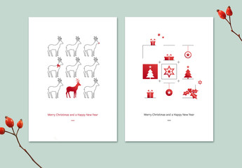 Illustrated Christmas Cards Set