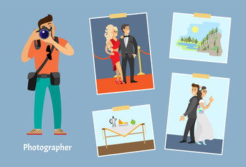 Photographer with Camera Profession and Photos Set