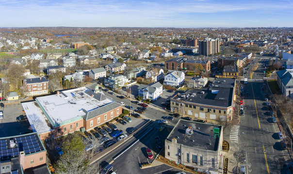 Aerial view of Arlington historic town center in Arlington, Massachusetts, USA.