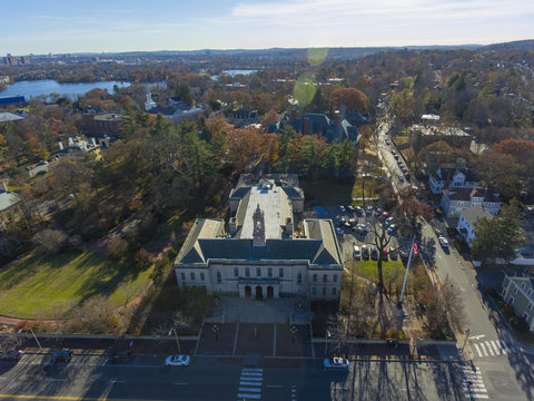 Aerial view of Arlington town Hall in downtown Arlington, Massachusetts, USA.
