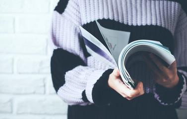 woman hand holding  book