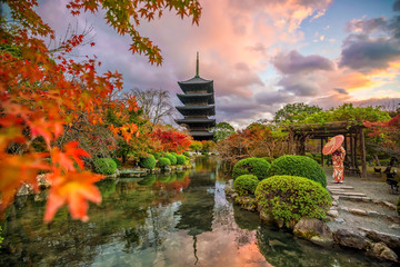 Toji temple and wood pagoda in autumn Kyoto, Japan