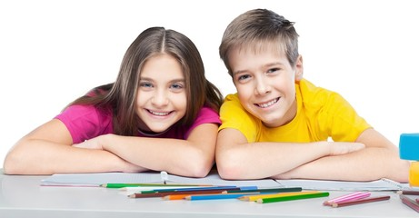 Two School Children Smiling