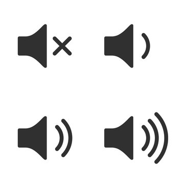 Volume icon set. Speakers with different sound levels.