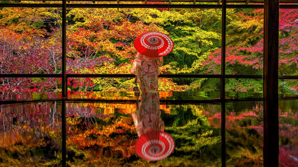 Spoed Fotobehang Kyoto Colorful autumn Japanese garden of Rurikoin temple in Kyoto