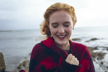 Woman smiling in the beach