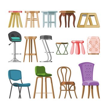 Chair vector comfortable furniture stool bar-chair and modern bar seat design in furnished bistro cafe interior illustration set of armchair or easy-chair isolated on white background