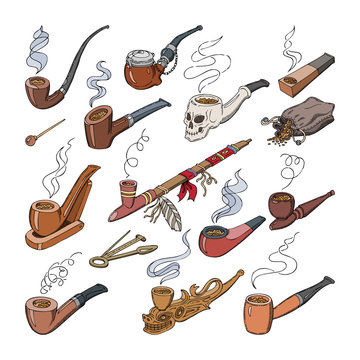 Tobacco pipe vector vintage nicotine smoker object classic retro smoking-pipe product illustration smoky set of old smoke accessory isolated on white background
