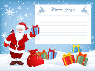 Santa Claus with gift box and layout letter with list wish to Santa Claus and many gift boxes lying on snow
