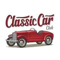 Retro car roadster. Side view. Vintage color engraving