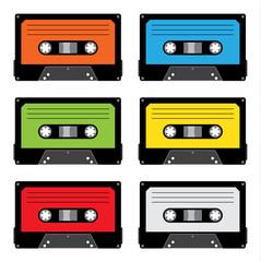 Set di audiocassette colorate