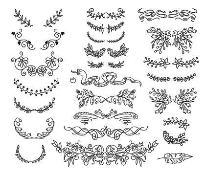 Set of linear thin line art deco retro vintage design elements.