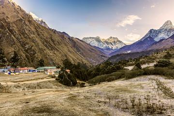 Panoramic view of Mt. Everest, Lhotse, Nuptse and Ama Dablam from Tengboche, Nepal
