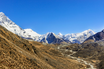 View at Island Peak from Dingboche area in Nepal