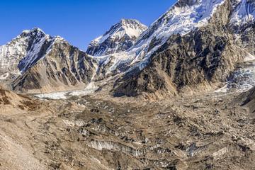 Himalayas peaks Lingtren, Khumbutse, over Khumbu Glacier in Nepal