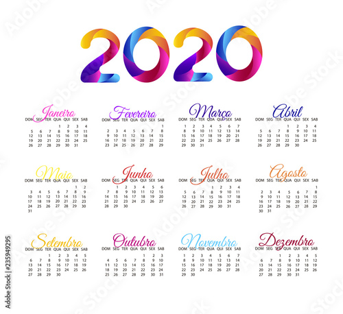Layout Calendario 2020.2020 Calendar In Portuguese Vector Annual Calendar Layout