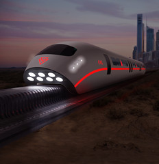 Futuristic High Speed Monorail Train Magnetic Levitation