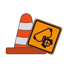 Traffic cone and mask road sign