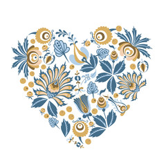 Scandinavian Floral heart background shape with flowers and leaves for greeting cards, posters, banners, and other projects