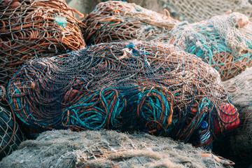 Fishnet pile in harbor
