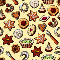 Hand-painted Christmas seamless texture with sweet desserts and cookies.