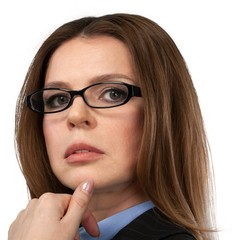 Thoughtful Businesswoman With Glasses Close-up - Isolated