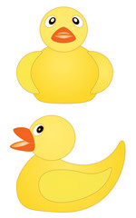 Toy rubber yellow duck with red beak set vector eps 10