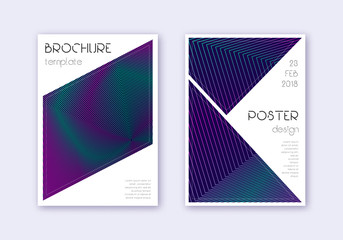 Triangle cover design template set. Neon abstract