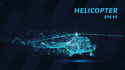 A helicopter from the blue points of light. The helicopter is made up of particles. Vector illustration.