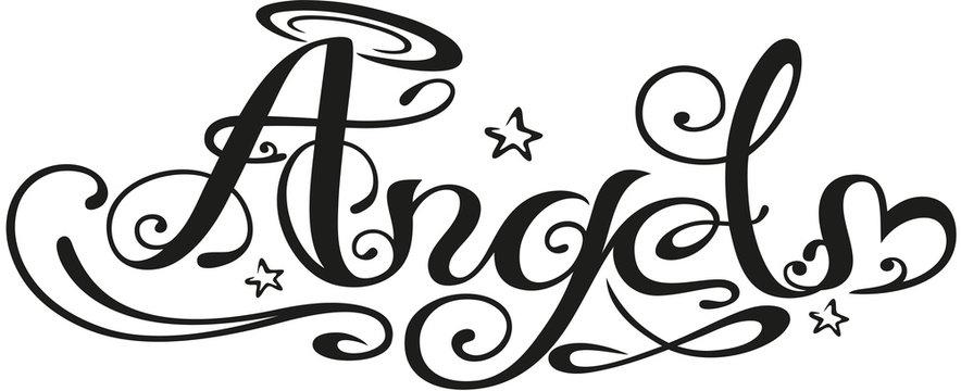 Angel Tattoo Schriftzug mit Herz und Sternen.
