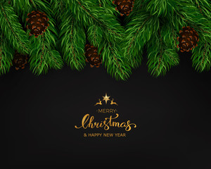 Holiday Background with Season Wishes and Border of Realistic Looking Christmas Tree Branches With Fir Cone On Black Background. Vector illustration