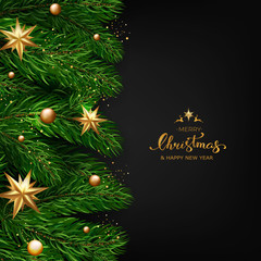 Holiday's Background with Season Wishes and Border of Realistic Looking Christmas Tree Branches With Gold Stars And Bubbles On Black  Background. Vector illustration