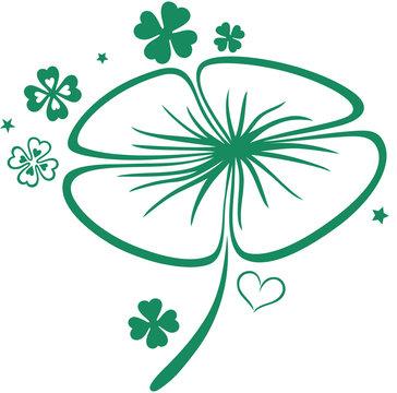 St Patricks Day. Großes Kleeblatt mit Kleeblättern. Irish Day.