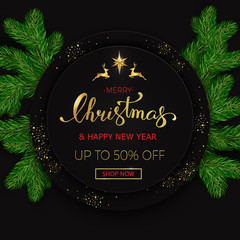 Merry Christmas sale banner on black background with realistic looking christmas tree branches. Vector illustration