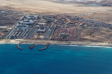 Aerial view at the resort area on the island Sal, Cape Verde