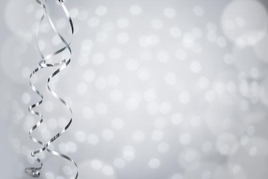 Silver Christmas curly ribbon