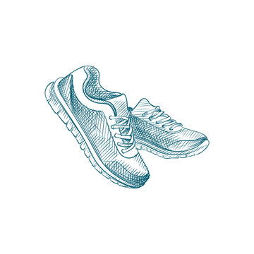 Hand Drawn Sneakers Sketch Symbol isolated on white background. Vector Sport shoes In Trendy Style. Accessories and sport equipment hand drawing sketches elements
