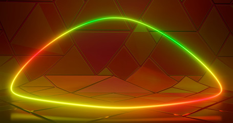 Illustration of 3D rendering. Futuristic Sci-Fi Abstract red and green neon light figures on the background of a mozayka and reflective concrete with empty space for text