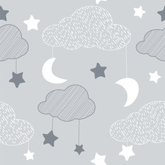 Seamless pattern with sky elements in line art style, grey night