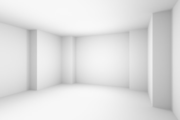 Empty abstract white room, simple illustration.