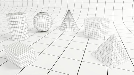 3d render - Low polygonal geometric forms on quadratic backdrop