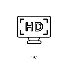 Hd icon. Trendy modern flat linear vector Hd icon on white background from thin line Cinema collection