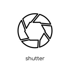 Shutter icon. Trendy modern flat linear vector Shutter icon on white background from thin line Cinema collection
