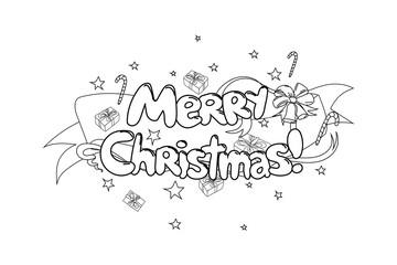 Merry Christmas. Hand drawned vector illustration. Black and white line art