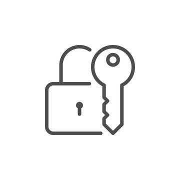 Lock and key line icon